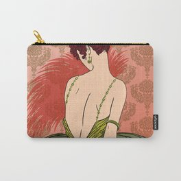 Art Deco Lady with Damask - BIANCA: Antique Autumn Carry-All Pouch