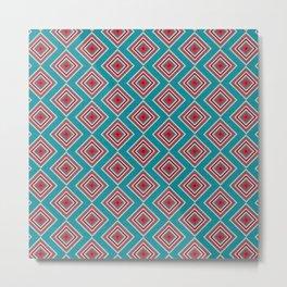 Check Pattern Teal #homedecor #retro Metal Print