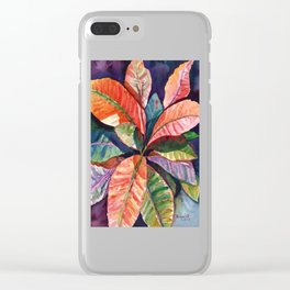 Colorful Tropical Leaves 1 Clear iPhone Case
