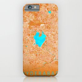 Hyderabad, India, Gold, Blue, City, Map iPhone Case
