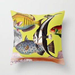 Fish World yellow Throw Pillow