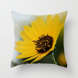 Bee Pollinating Throw Pillow