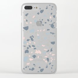 Terrazzo, Light Navy Colorful Floor Texture Clear iPhone Case
