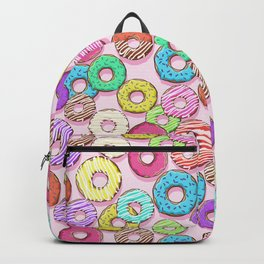 pattern with donuts. different donuts on a pink background. colored glaze Backpack