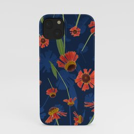 Red and Blue Helenium Sneezeweed Floral Pattern iPhone Case