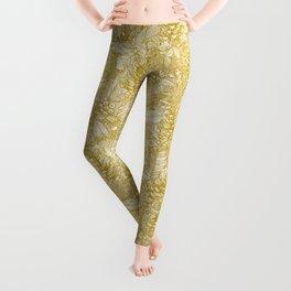 forest floor gold ivory Leggings