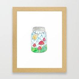 Mushrooms in Mason Jar Framed Art Print