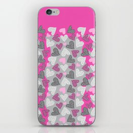 Chantilly Valentine Leopard Hearts Hot Pink Gray iPhone Skin