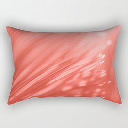 Living Coral Palm Tree Leaf Sunlight Orange Peach Tropical Floral Pattern Rectangular Pillow
