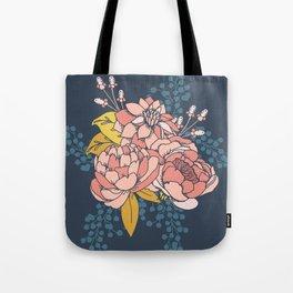 Moody Florals - Blue + Pink Tote Bag