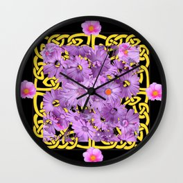 BLACK-YELLOW LILAC FLORAL CELTIC ART Wall Clock