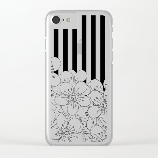 Cherry Blossom Stripes - In Memory of Mackenzie Clear iPhone Case