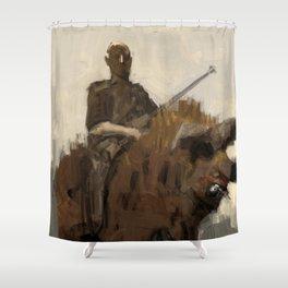 Hunter riding a boar Shower Curtain