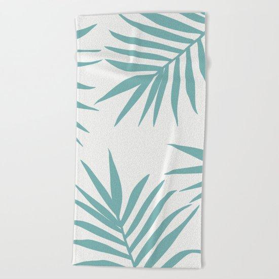 Delicate Green Tropical Leaves Pattern Beach Towel