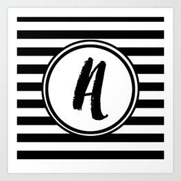 A Striped Monogram Art Print