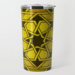 Rich Gold Art Deco-Inspired Geometric Pattern Travel Mug
