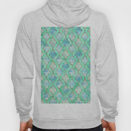 Luxury Aqua Teal Mint and Gold oriental quatrefoil pattern Hoody