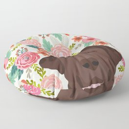 Chocolate Lab florals dog breed portrait pet art dog lover gifts labrador retriever Floor Pillow