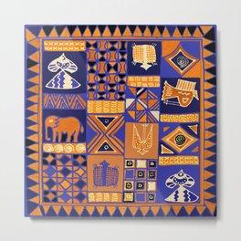 African Batik Collage Metal Print