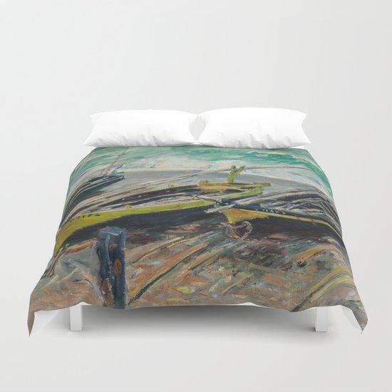 Claude Monet - Three Fishing Boats Duvet Cover