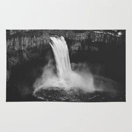 Palouse Falls Black and White Rug