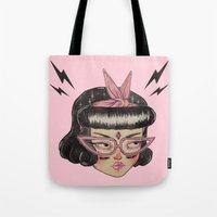 loll3 Tote Bags featuring Gang Girl (black) by lOll3