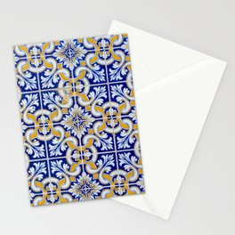 Close-up of blue, white and yellow ceramic wall tiles in Tavira, Portugal Stationery Cards