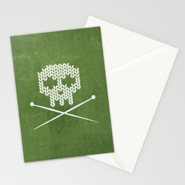 Knitted Skull - White on Olive Green Stationery Cards