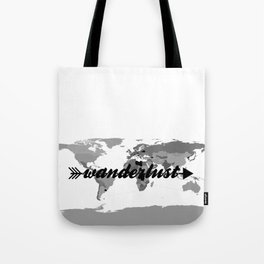 Wanderlust Black and White Map Tote Bag