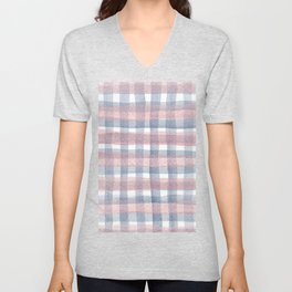 Pink And Blue Watercolour Checkers Unisex V-Neck