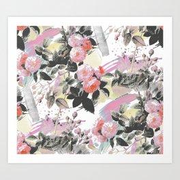 Pink splattered romantic roses Art Print