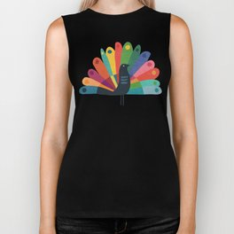 Whimsical Peacok Biker Tank