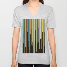 Night's End - Abstract, Geometric Color Stripes Unisex V-Neck