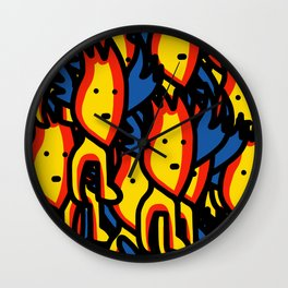 Little Yellow Creature With Wings Street Art Pattern Wall Clock