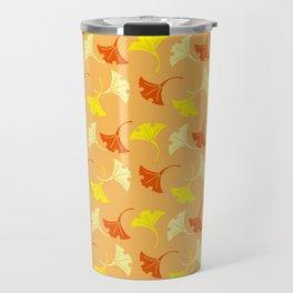 Orange Auspicious Momiji Maple Leaf Japanese Kimono Pattern Travel Mug