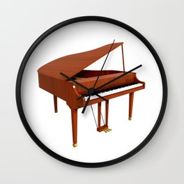 Grand Piano with Wood Finish Wall Clock