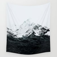 mountains Wall Tapestries featuring Those waves were like mountains by Robert Farkas