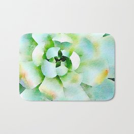 Mint Watercolor Succulent Bath Mat