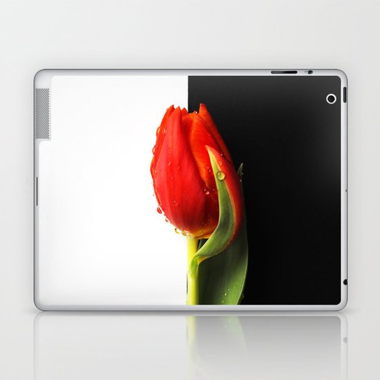 Black and White and Red Tulip Laptop & iPad Skin