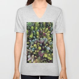 Rainbow Succulents  Unisex V-Neck