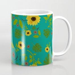Sunflower & Monstera Leaf Coffee Mug
