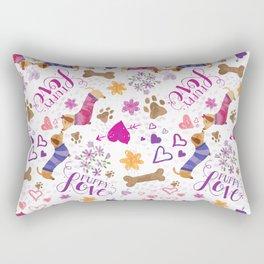 Doxie Puppy Love Pattern Rectangular Pillow