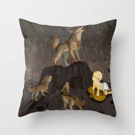 Teaching the Pups Throw Pillow