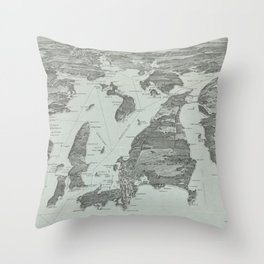 Vintage Pictorial Map of Narragansett Bay (1907) Throw Pillow