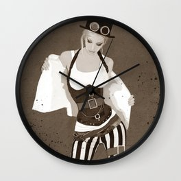 Illustrated Portrait Of Steampunk Woman Wall Clock