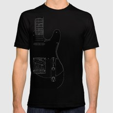 Electric Guitar Drawing LARGE Black Mens Fitted Tee