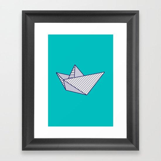 Fune, navy lines on turquoise Framed Art Print