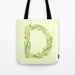 Leafy Letter D Tote Bag