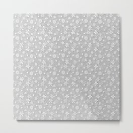 Festive Silver Grey and White Christmas Holiday Snowflakes Metal Print