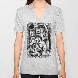 The Witch and Her Sons- b&w Unisex V-Neck